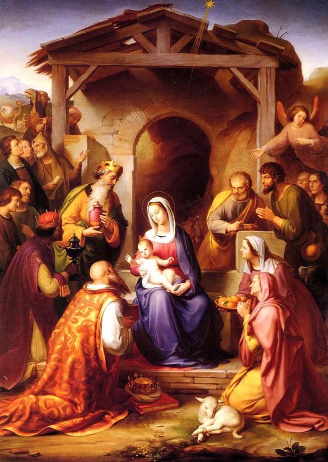 Y entrando en la casa, vieron al Niño con su madre María, y postrándose le adoraron; y abriendo sus tesoros le presentaron obsequios de oro, incienso y mirra. ( Mateo 2:11 )