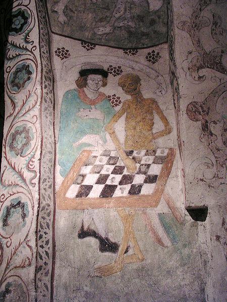La muerte jugando al ajedrez, mural de Albert Målare, en la Iglesia de Täby, Diócesis de Estocolmo.